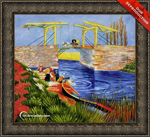 The Langlois Bridge at Arles with Women Washing Painting - Oil Reproduction