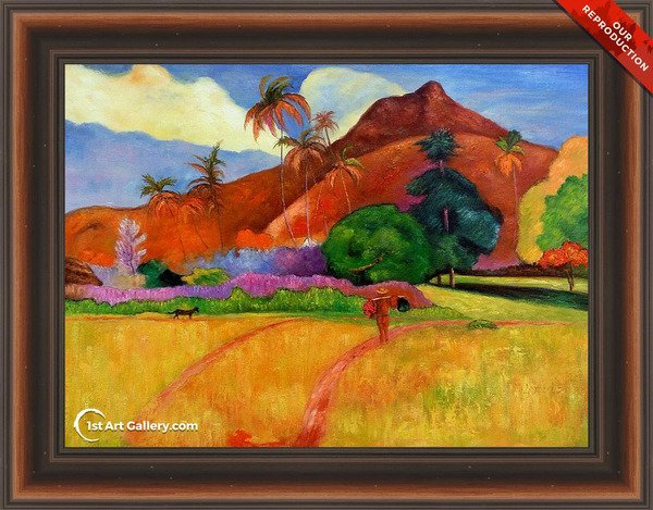Mountains In Tahiti Painting by Paul Gauguin - Oil Reproduction