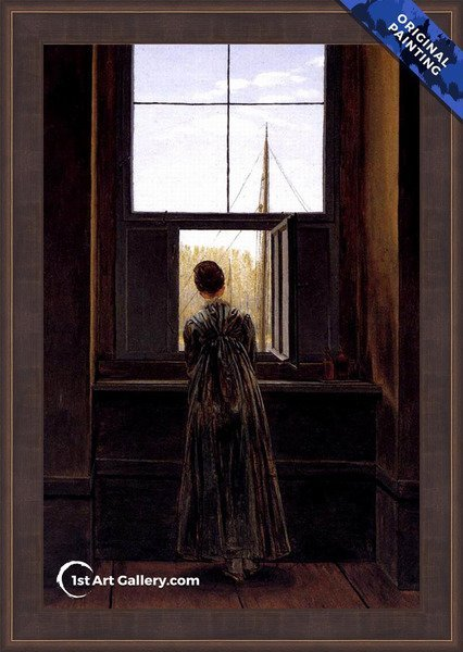 Woman at a Window Painting by Caspar David Friedrich - Original Painting