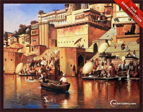 On The River Benares Painting by Edwin Lord Weeks - Oil Reproduction