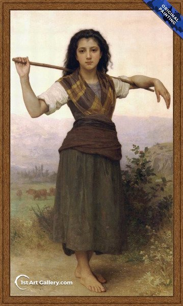Pastourelle Painting by William-Adolphe Bouguereau  - Original Painting