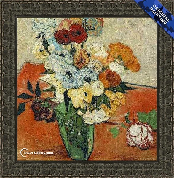 Japanese Vase With Roses And Anemones Painting by Van Gogh - Original Painting