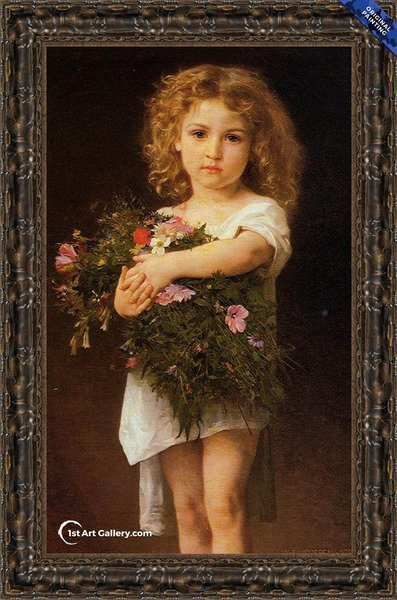 Child With Flowers Painting by William-Adolphe Bouguereau - Original Painting