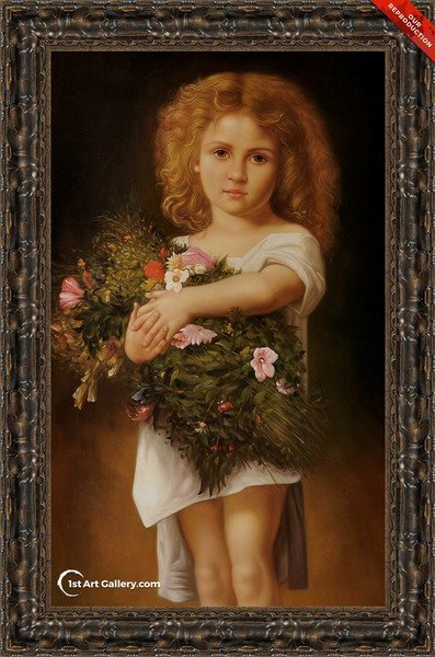 Child With Flowers Painting by William-Adolphe Bouguereau - Oil Reproduction