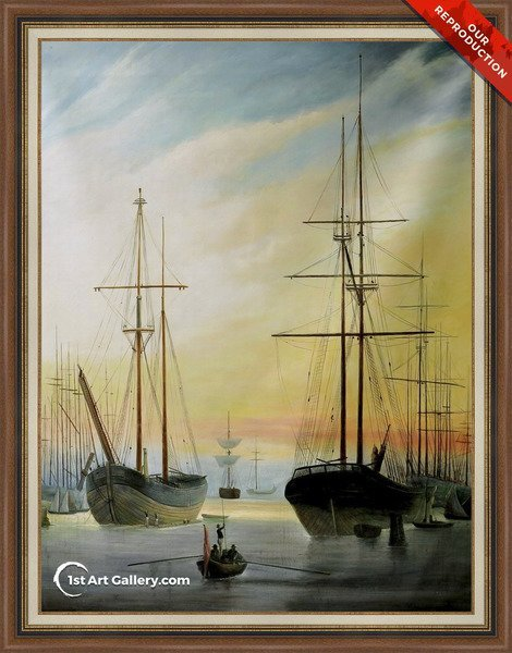 View of a Harbour Painting - Oil Reproduction