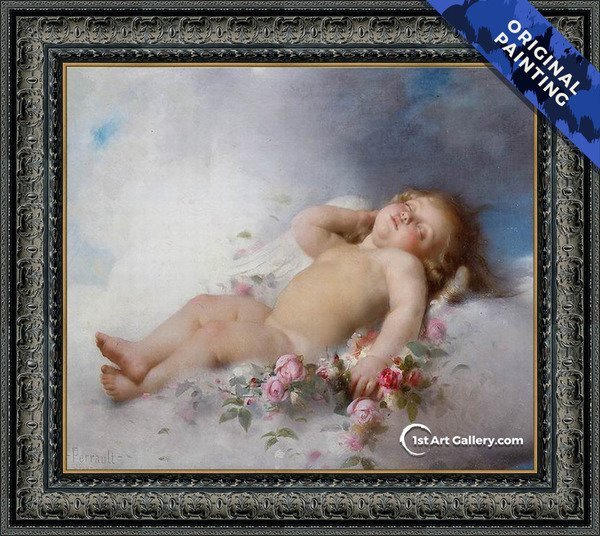 Sleeping Putto Painting by Leon-Jean-Basile Perrault - Original Painting