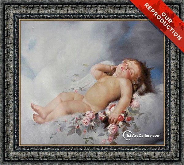 Sleeping Putto Painting by Leon-Jean-Basile Perrault - Oil Reproduction