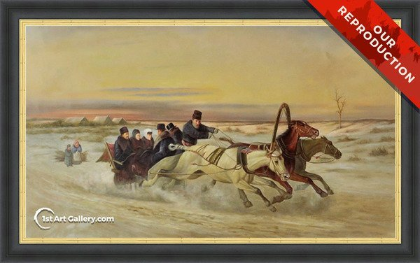 A Galloping Winter Troika at Dawn Painting - Oil Reproduction
