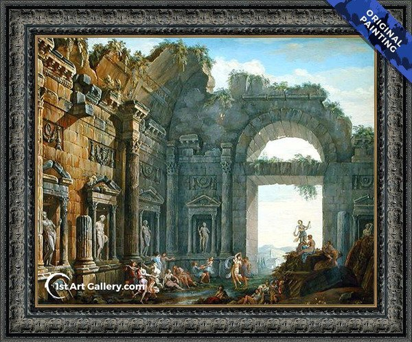 Architectural Ruins Painting by Charles-Louis Clerisseau - Original Painting