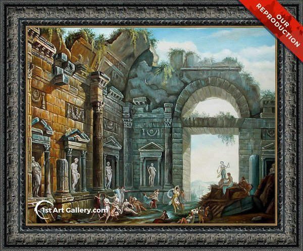 Architectural Ruins Painting by Charles-Louis Clerisseau - Oil Reproduction