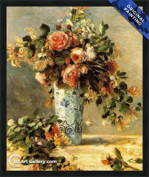Roses And Jasmine In A Delft Vase Painting - Original Painting