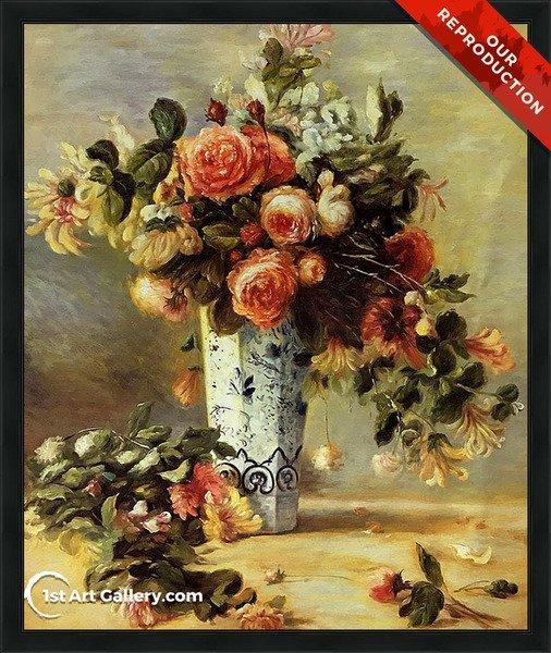 Roses And Jasmine In A Delft Vase Painting - Oil Reproduction