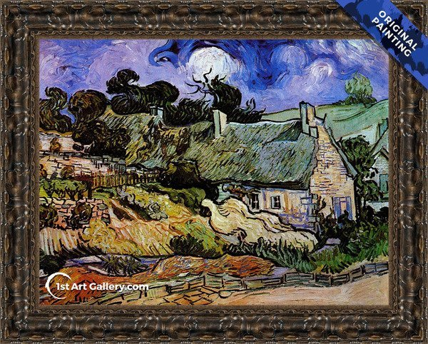 Houses with Thatched Roofs, Cordeville Painting by Vincent Van Gogh - Original Painting