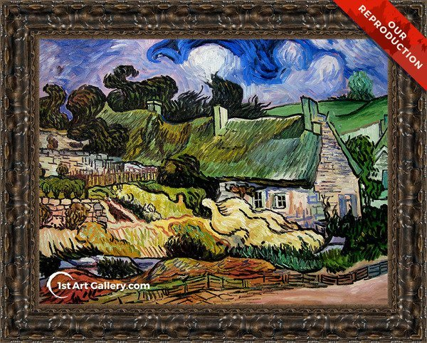 Houses with Thatched Roofs, Cordeville Painting by Vincent Van Gogh - Oil Reproduction