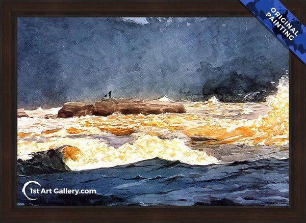 Fishing the Rapids, Saguenay Painting by Winslow Homer - Original Painting