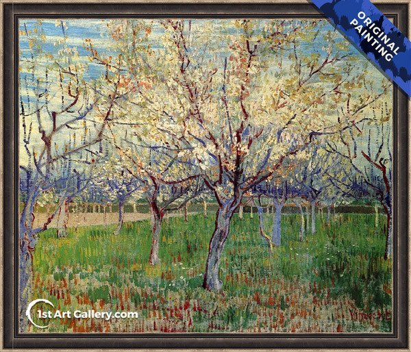 Orchard With Blossoming Apricot Trees Painting by Vincent Van Gogh - Original Painting
