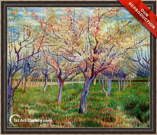 Orchard With Blossoming Apricot Trees Painting by Vincent Van Gogh - Oil Reproduction