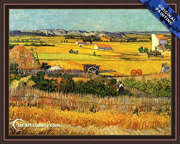 Harvest At La Crau With Montmajour In The Background Painting - Original Painting