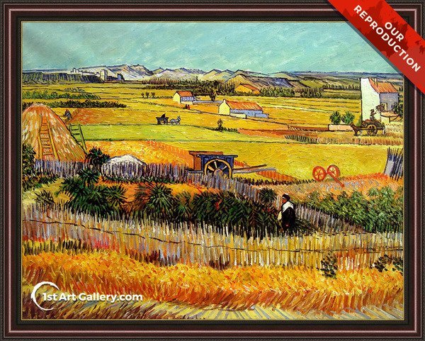Harvest At La Crau With Montmajour In The Background Painting - Oil Reproduction