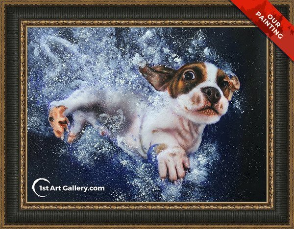 Hand-painted pet portrait of a dog swimming under wa