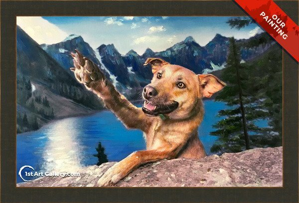 Hand-painted pet portrait of a dog in the mointains