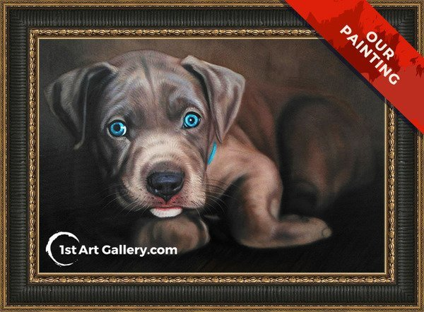 Hand-painted pet portrait of a dog with blue eyes
