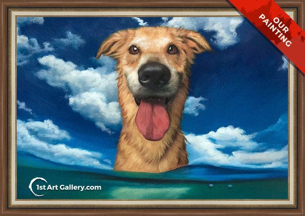 Hand-painted pet portrait of a happy dog in the sea
