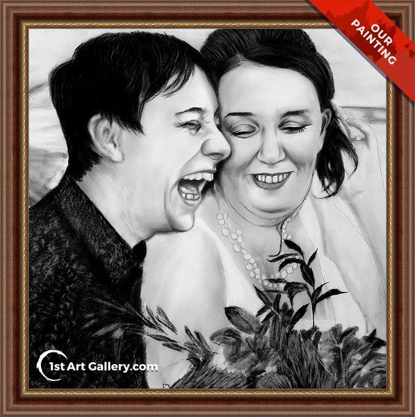 Charcoal portrait of a laughing couple