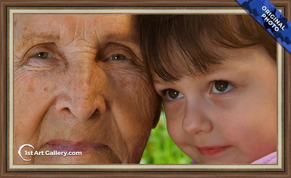 Photo of a little boy with his grandmother