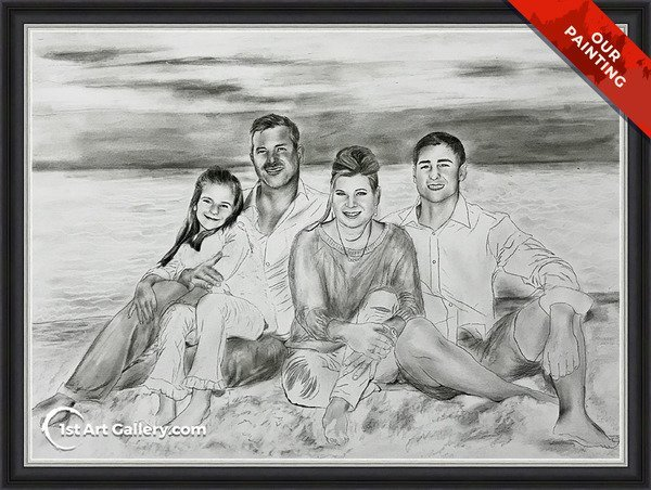 Charcoal portrait of a family sitting on the beach