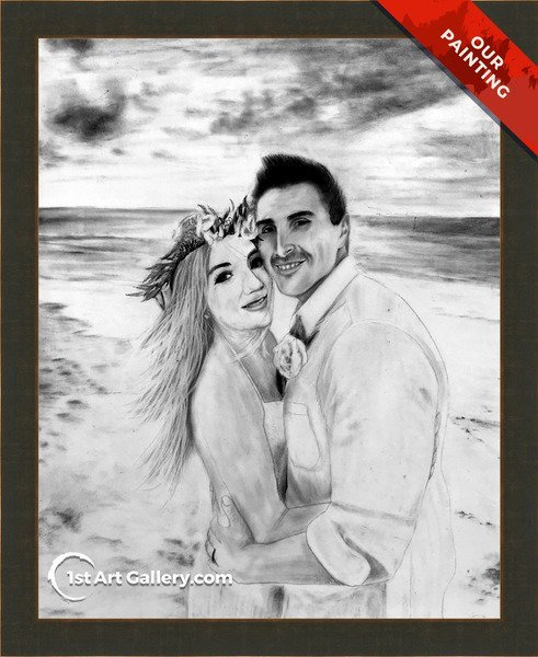 Charcoal portrait of a wedding couple on the beach