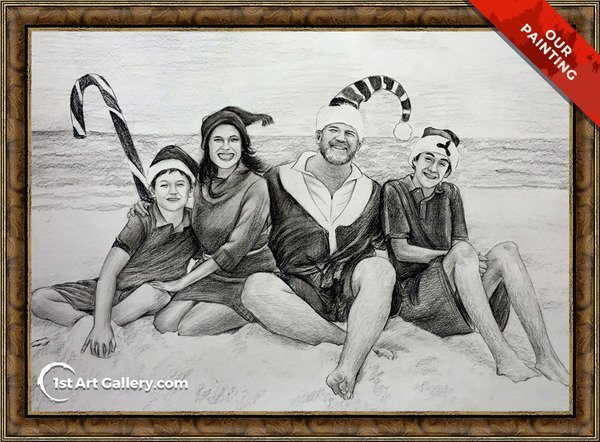 Christmas portrait of a family on the beach