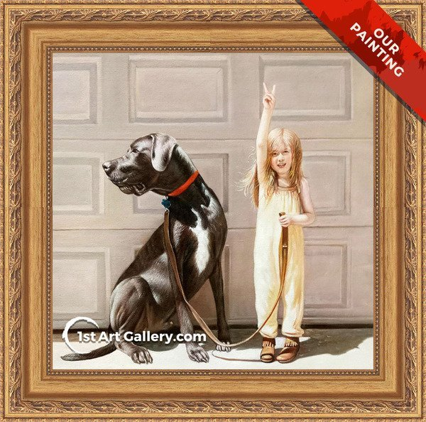Custom portrait of a little girl with a big dog