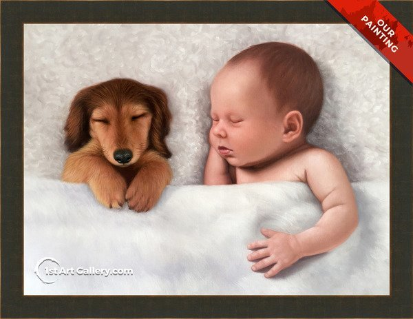 Hand-painted portrait of a newborn child with a dog