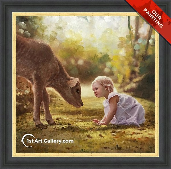 Hand-painted portrait of a little girl looking at a deer