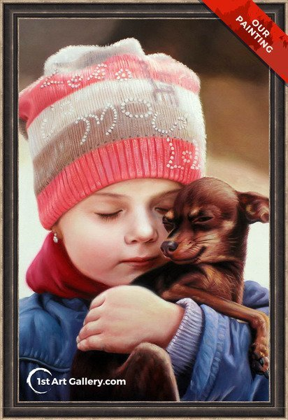 Hand-painted portrait of a girl hugging a pygmy chihuahua