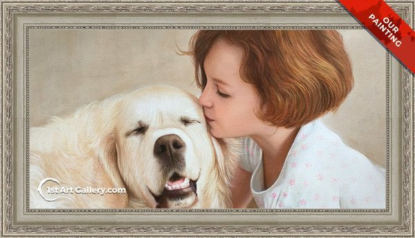 Hand-painted portrait of a girl kissing her dog