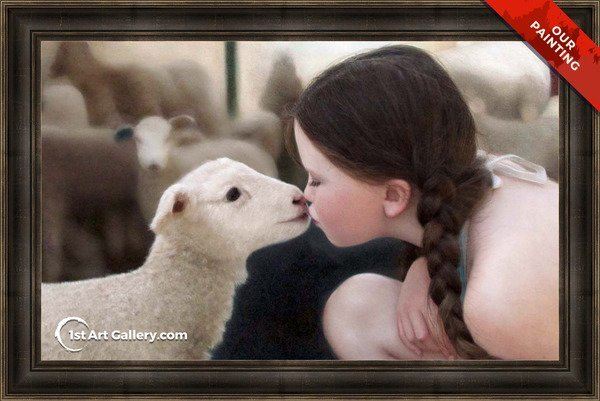 Custom portrait of a girl kissing a lamb
