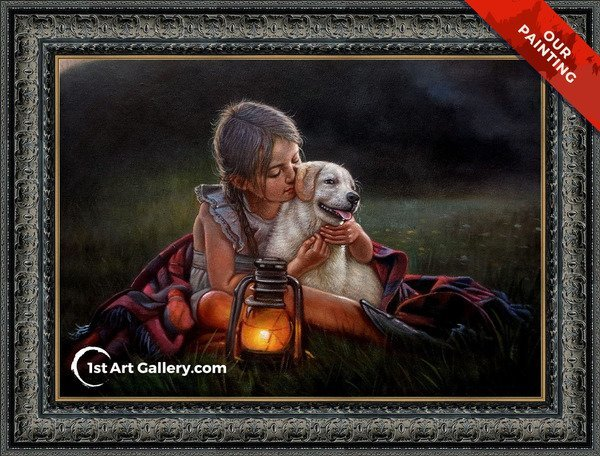 Hand-painted portrait of a girl and a dog on the grass