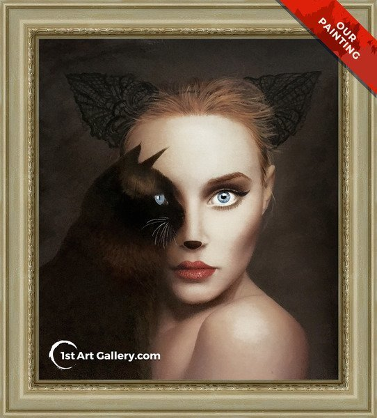Hand-painted portrait of a cat woman with a cat