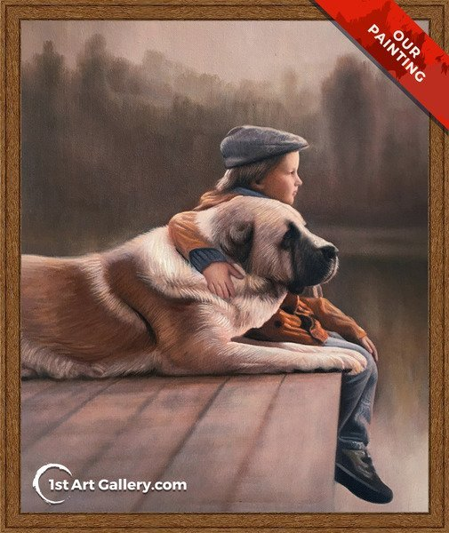 Custom portrait of a boy with his dog on the pier