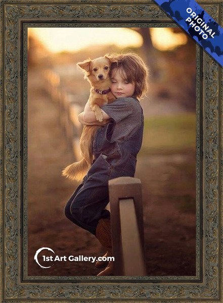 A photo of a kid hugging a dog