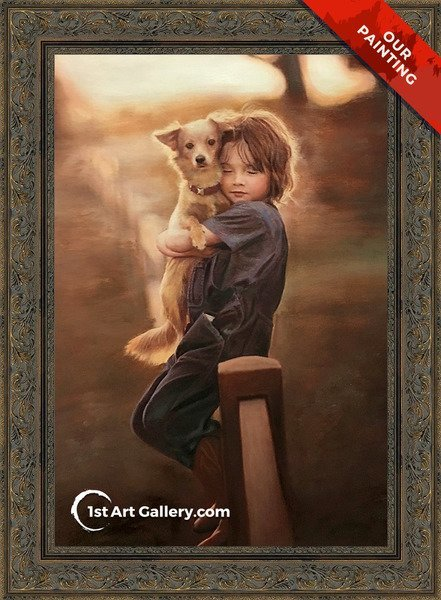 Hand-painted portrait of a kid hugging a dog