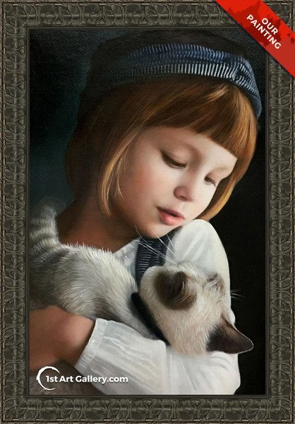 Custom portrait of a girl holding a siamese cat