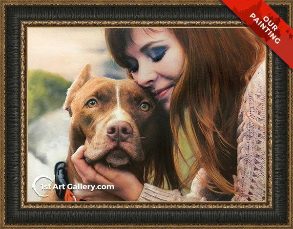 Hand-painted portrait of a girl cuddling her dog