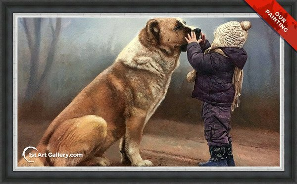 Hand-painted portrait of a small kid and a big dog