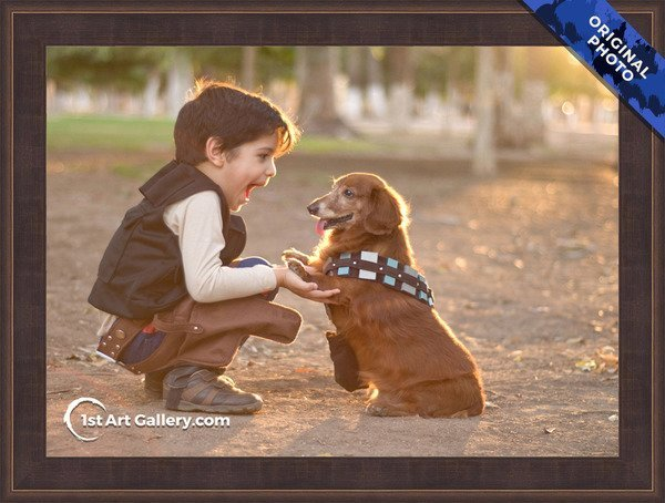 A photo of a boy playing with his dog