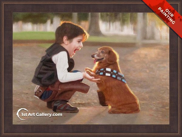 Custom portrait of a boy playing with his dog
