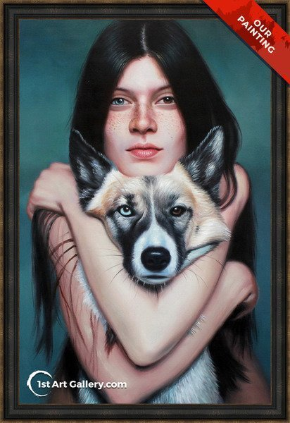 Hand-painted portrait of a girl hugging her dogskin