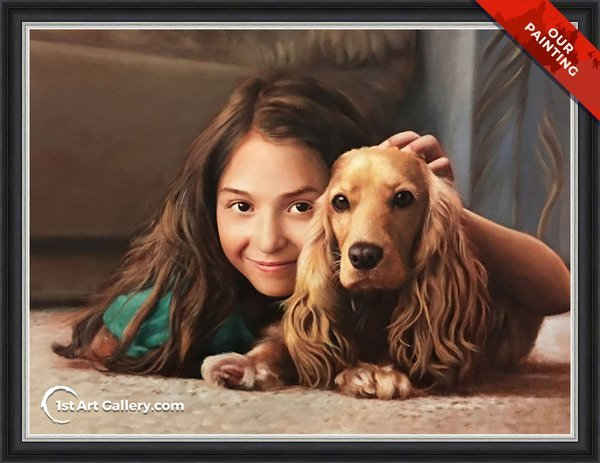 Hand-painted portrait of a girl with a spaniel dog